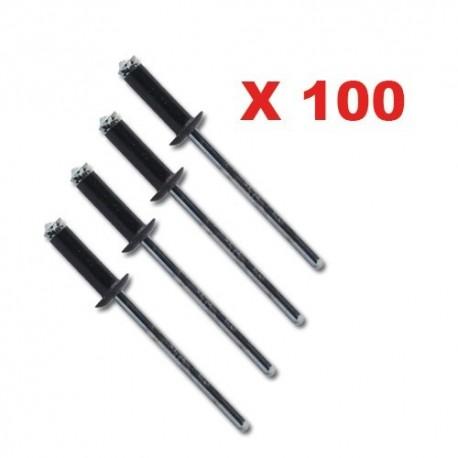 RIVETS NOIR ANODISE ABS X 100 QUALITE SUPERIEURE ( corps/alu noir.tige/acier bichro )4.8X0.5-11.0 mehari mehari 4x4