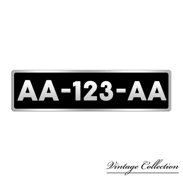 plaque immatriculation avant fond noir bord aluminium a l. Black Bedroom Furniture Sets. Home Design Ideas