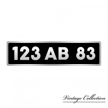 plaque immatriculation avant fond noir bord aluminium a l ancienne. Black Bedroom Furniture Sets. Home Design Ideas